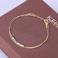 Kelitch Jewelry Double Layers Luxury Import Crystal Baeds Bohemian Multicolor Gold Plated Handmade Friendship Bracelet