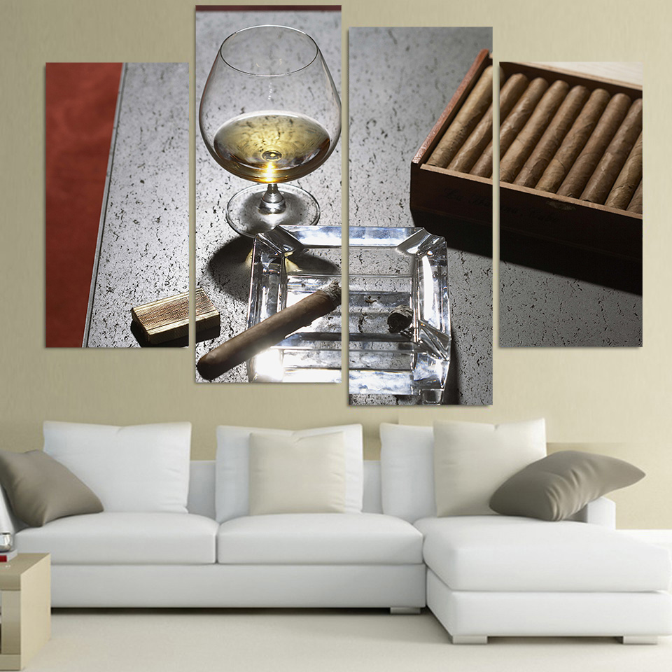 Canvas painting 4 piece canvas art cigar whiskey wine for 4 home decor