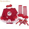 Новорожденный рождественские костюмы девочка одежда комплект Roupas Meninos с длинными рукавами пачка платье комбинезон обувь 4 шт. комплект подарки на день рождения