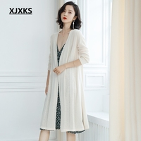 XJXKS korean truien dames style fashion women cardigan sweater coat loose solid color young ladies women long cardigan sweater