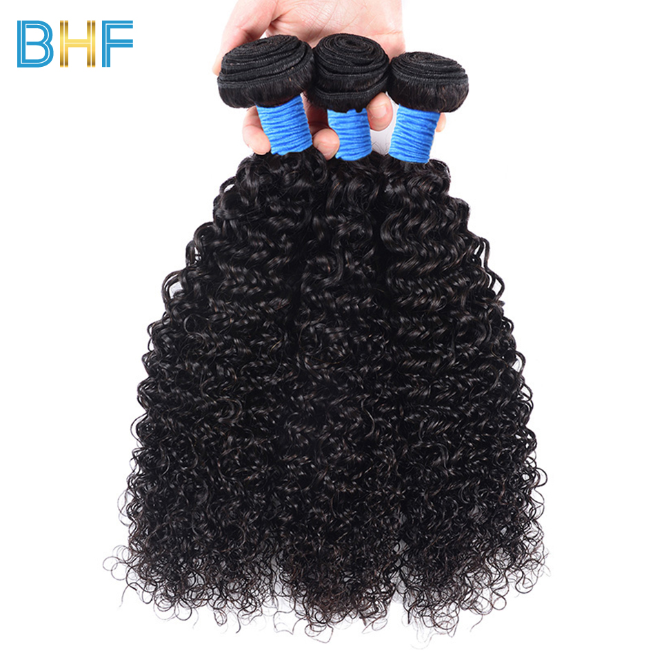 Mongolian Kinky Curly Hair Extension 100% Human Hair Weave 3 Bundles Deals Double Weft Nature Color BHF Curly Virgin Hair Weft