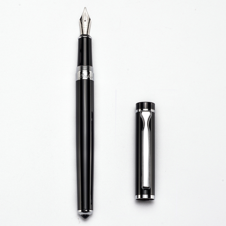 Duke P3 Luxury Smooth Black and Silver Clip Fountain Pen with 0.5mm Nib High Quality Metal Ink Pens for Gift Writing Stationery writing business stationery crocodile 136 black and gold fountain pen with 0 5mm nib luxury metal ink pens for christmas gift
