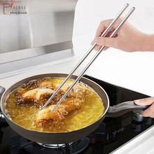 Reusable Chinese Stainless Steel Anti-Skip 36cm Long Handle 14 Inch Hot Pot Chopstick Fry Beef Stick Hashi Cooking Frying Noodle