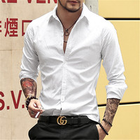 MIX MAN Casual Men Shirts Oxford Dress Shirts Full Sleeve Long Sleeve Brand Male Solid Striped