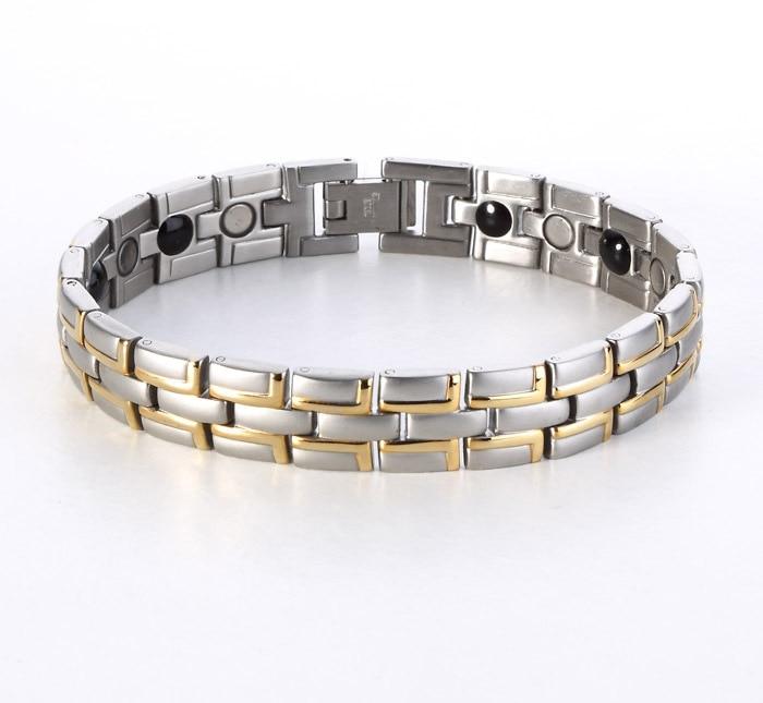 Vente chaude 2015 En Gros De Mode de Guérison Magnétique Bijoux En Acier  Inoxydable 316L Bracelet Pour Hommes Femmes Avec SAPIN Germanium SS003RW 855c609d9782