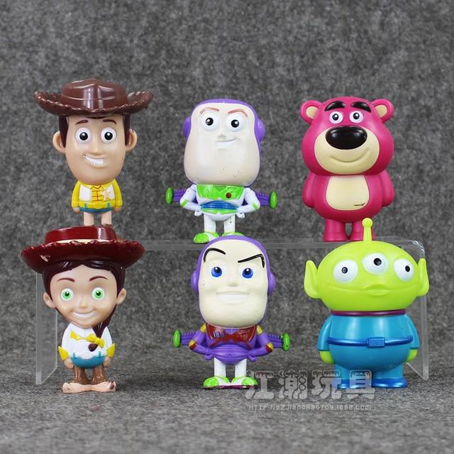 Disney 6 Pçs lote Toy Story Figura PVC Brinquedos Zumbido Lighter Ano Woody  Jessie Bulleye 2d3264a9071