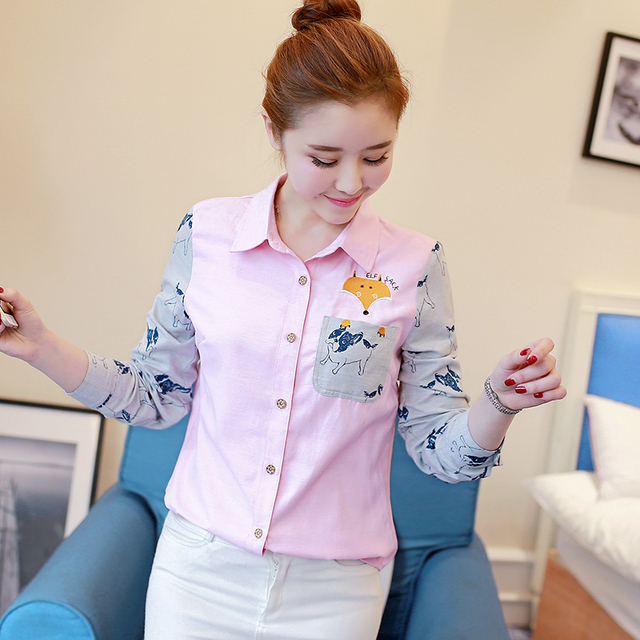 Creative Colorful Dog Patterned Blouse
