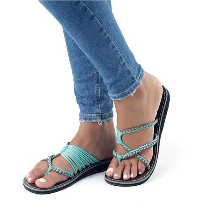 LAISUMK 2019 Fashion Summer Flip Flops Women Slippers Leisure Female Ladies Beach Outdoor Summer Slippers Casual Women Shoes in Flip Flops from Shoes