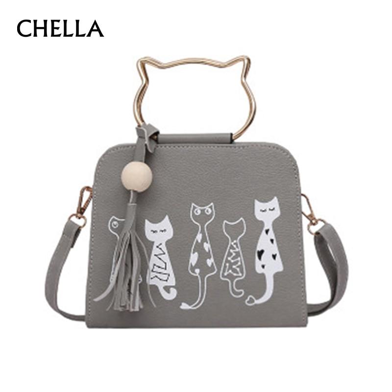 Women Handbag Cat Pattern PU Leather Female Single Shoulder Bags Cute Kitty Black Messenger Bag Ladies Fashion Tote Bolsa SS0347