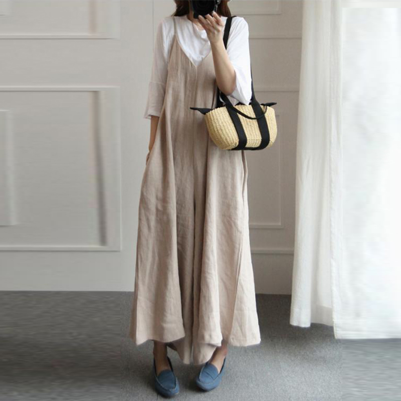 Women Vintage Linen Jumpsuit Romper V Neck Sleeveless Loose Pockets Solid Casual Wide Leg Trousers Strappy Dungaree Overalls