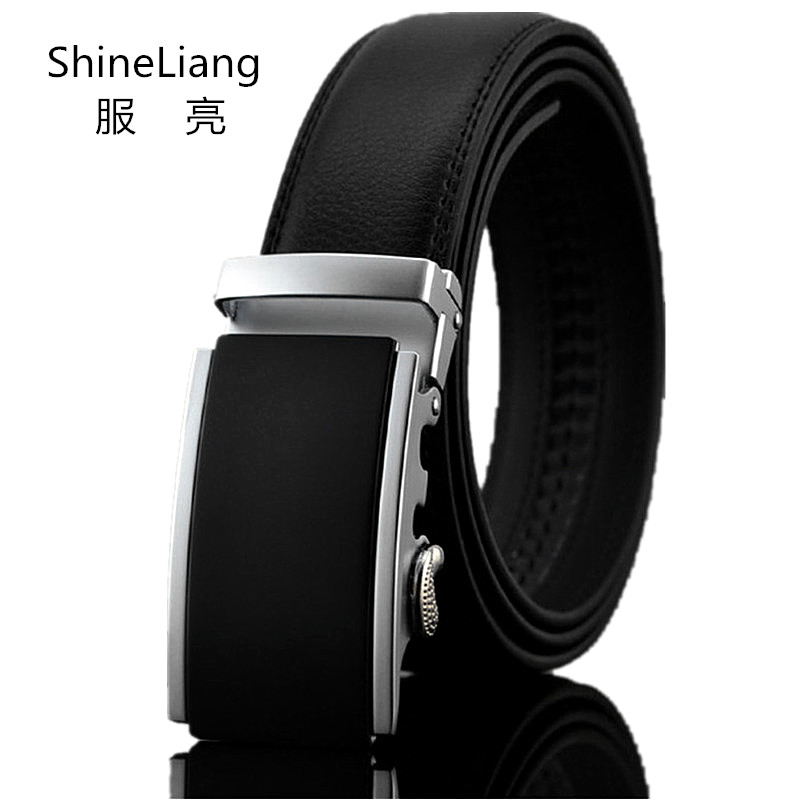 Shineliang Automatic buckle belts for men Simple designer High quality leather body Width 3.5CM Fashion brand male waist tape