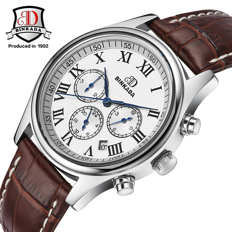цена на 2017 BINKADA Luxury Business Watches Men Automatic Self-wind Mechanical Watch Men Fashion Leather Band Dress Relogio Masculino