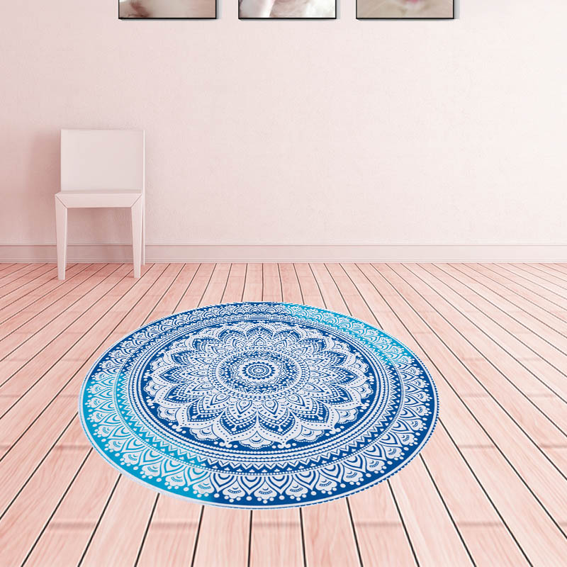 Anti-Slip Round Rugs for Living Room Doormat Mandala Print Carpet Door Floor Mats for Bedroom Bohemia Kids Chair Mats Home Decor