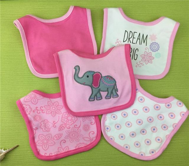 Baberos de bebé niñas 100% algodón suave Bandana de bebé 5 unids/pack