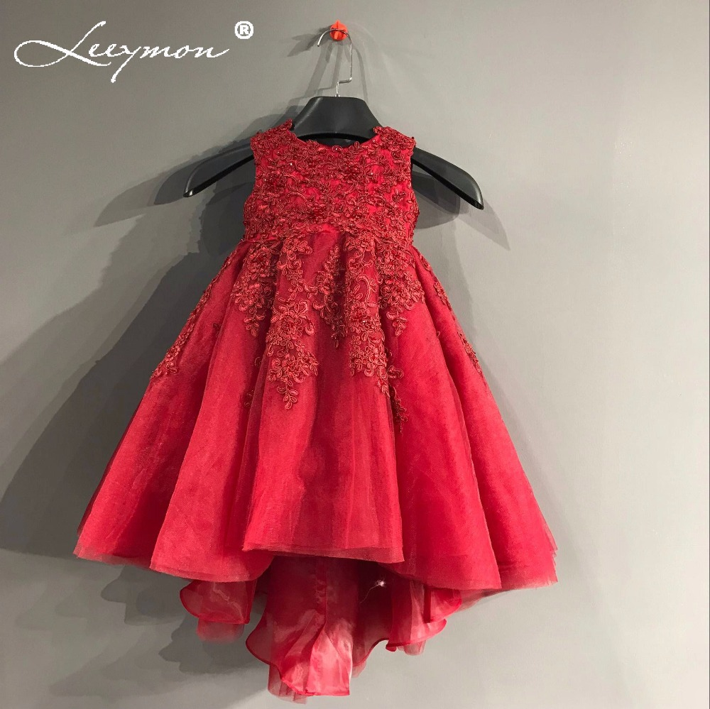 Real New Round Neck Sleeveless Red Lace Appliques Beaded   Flower     Girl     Dress   Party   Girl   Children baby   dresses   Custom Made