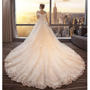 Image 3 - Fansmile Luxury Long Train Vestido De Noiva Lace Wedding Dress 2020 Customized Plus Size Wedding Gowns Bridal Dress FSM 491T
