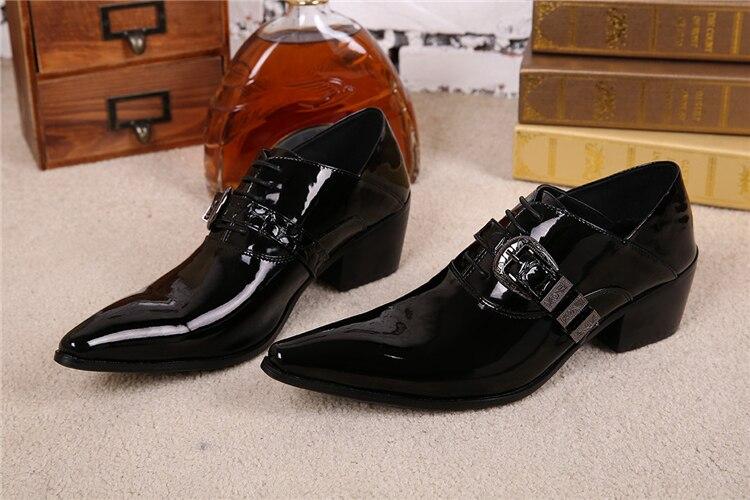 Лакированные Туфли 2018 Модные Мужские Свадебные Оксфорды Обувь Весна Осень Острым Носом Выпускного Вечера Банкетный Оксфорды Обувь