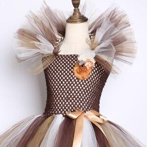 Image 5 - Vestido con tutú de Melena y León salvaje para niñas tutú de flores marrones para fiestas de cumpleaños, Cosplay de Halloween, disfraces de animales de 2 a 12 años