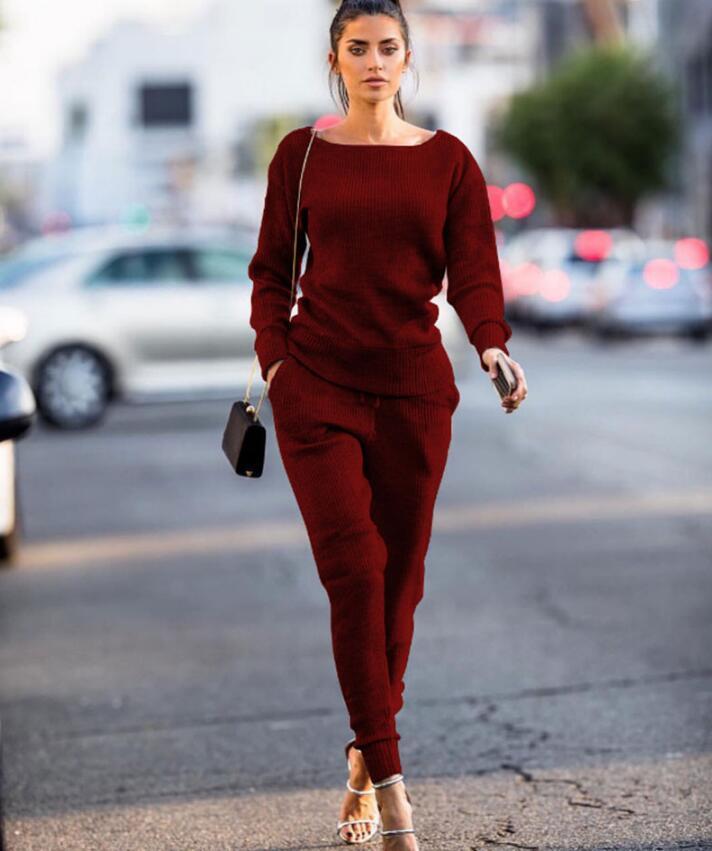 f556e101e0cdf 2018 2pcs Women set suits Long Sleeve Tracksuit Hoodies+Long Pants winter  sports suit Jogging Running Suits Sportswear