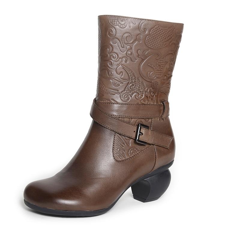 Bottes De Xiangban Velours D'hiver En Chaussures Talon Femmes 50256 Cuir coffee Black Boucle Café Haute Mi mollet Véritable Noir 0x8fr8wYq