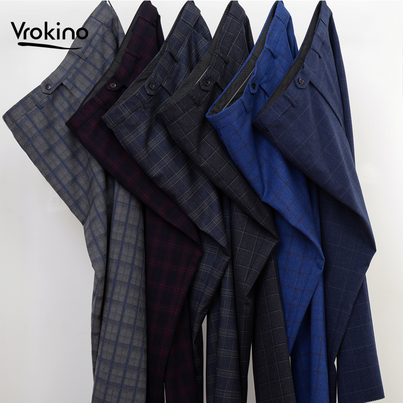VROKINO Brand 2019 Autumn And Winter New Style Men's Business Casual Suit Pants Fashion Plaid Men's Office Dress Pants   8XL 9XL