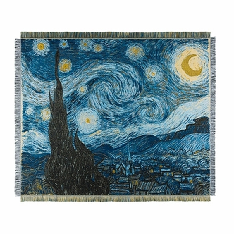 Van Gogh Starry Night Star Tapestry Decoration Sofa Blanket Blanket Knitted Blanket chunky Blanket in Blankets from Home Garden