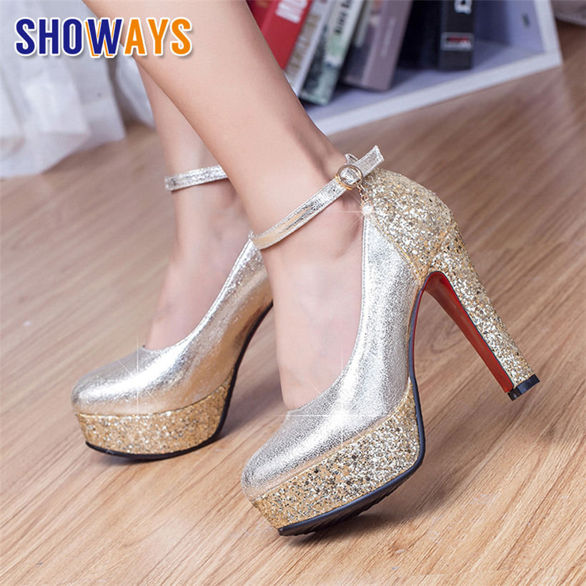 Silver Bling Women Platform Pumps 12cm High Chunky Heel Gold Sequined Cloth Wedding Bridal Party Ankle Strap Lady Spike StilettoSilver Bling Women Platform Pumps 12cm High Chunky Heel Gold Sequined Cloth Wedding Bridal Party Ankle Strap Lady Spike Stiletto
