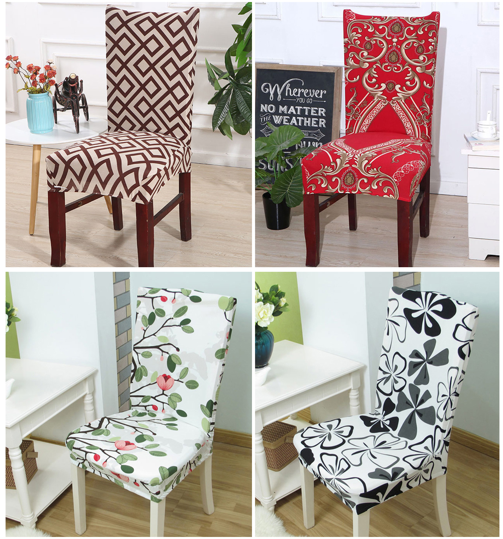 1246PCS Geometry Spandex Chair Cover Dining Washable slipcover for seat Elastic Kitchen Chair Covers Stretch Furniture Covers (10)
