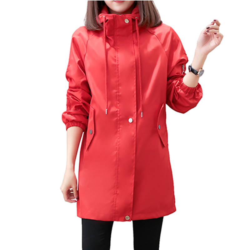 Fashion Windbreaker Women 2019spring New Medium Long Section Of Embroidered Waist Was Thin Large Size Loose Coat Windbreakerle86