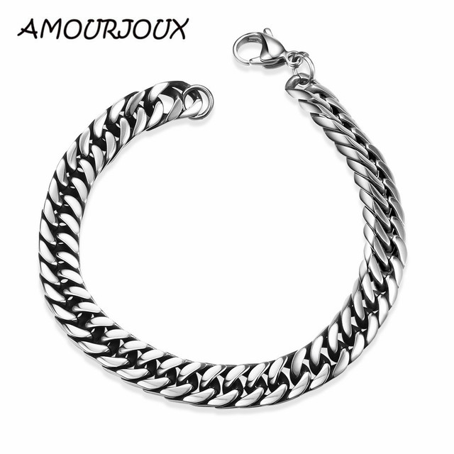 Tough Guy Gifts 8 Inch Motorcycle Chain 316l Stainless Steel Bracelets Men Punk Jewelry Mens Snake