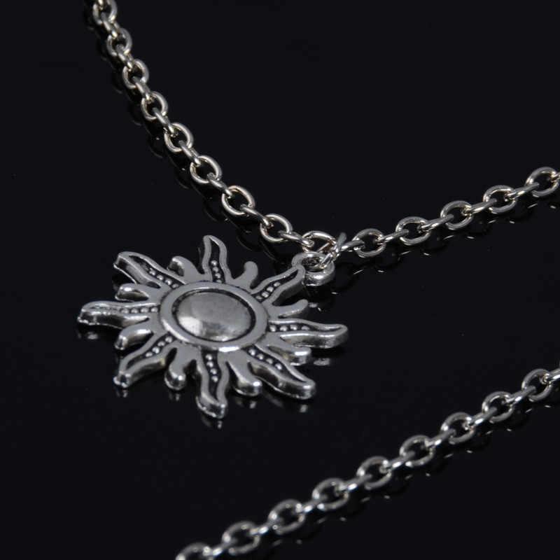 Для женщин мода многослойный кристалл горный хрусталь Маленькая подвеска-Кулон Луна, звезды, солнце кулон панк колье-чокер ювелирные изделия