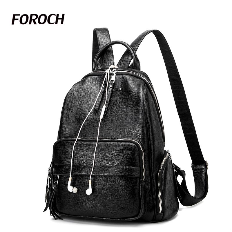 FOROCH Women Backpack Genuine Cow Leather College School Backpack Bags for Teenagers Vintage Mochila Casual Rucksack Daypack 4 brand vintage 100% genuine cow leather womens daily school backpack ipad backpacks rucksack for travel casual mochila masculina