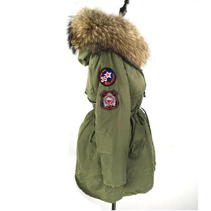 Armée 2018 Femmes Manteau Canard Naturel Raton Vert Laveur Hiver Noir De Grand Épaississement Veste Duvet Réel Collier Parka Fourrure Wvzq7A6