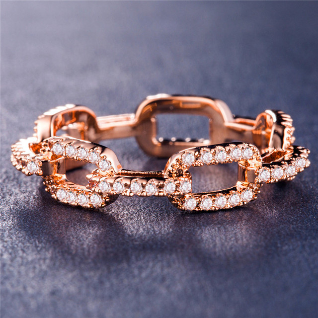 Visisap Square Chain Geometric Icedout Zircon Rings for Women Gold Color Luxury Lady Ring Elegant Jewelry Wholesale B1007