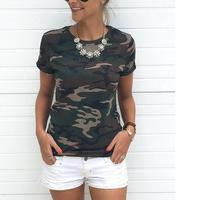 2017 New Women S T Shirt Casual Camo Short Sleeve Camouflage T Shirt Plus Size S