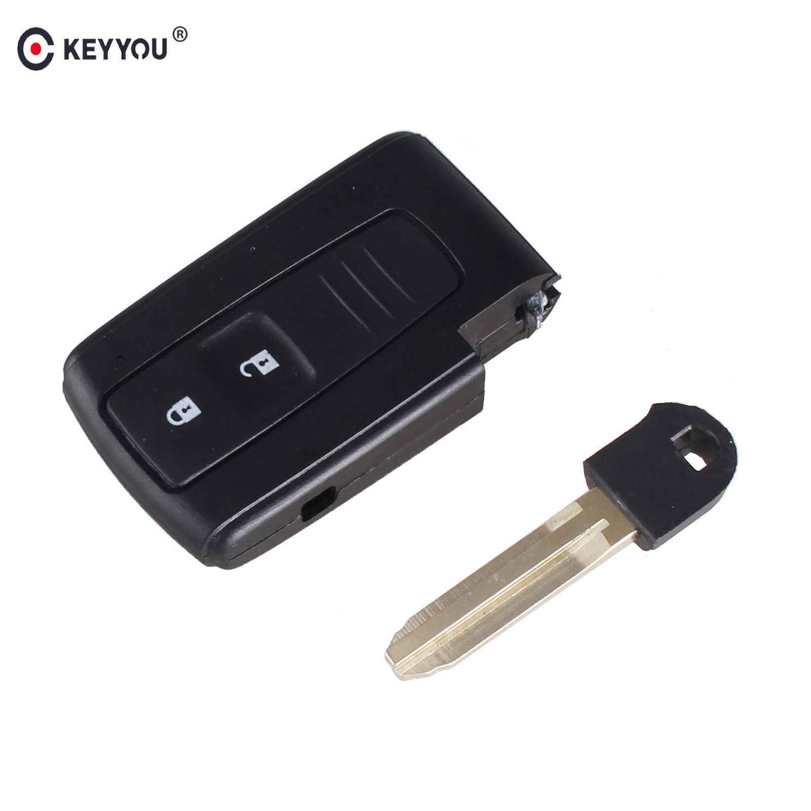 KEYYOU 2 BUTTON REMOTE KEY CASE FOR TOYOTA PRIUS COROLLA VERSO TOY43 BLADE