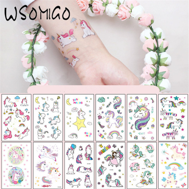 wedding bridal shower 12pc cartoon unicorn tattoo stickers unicorn party decorations kids birthday hen party wedding
