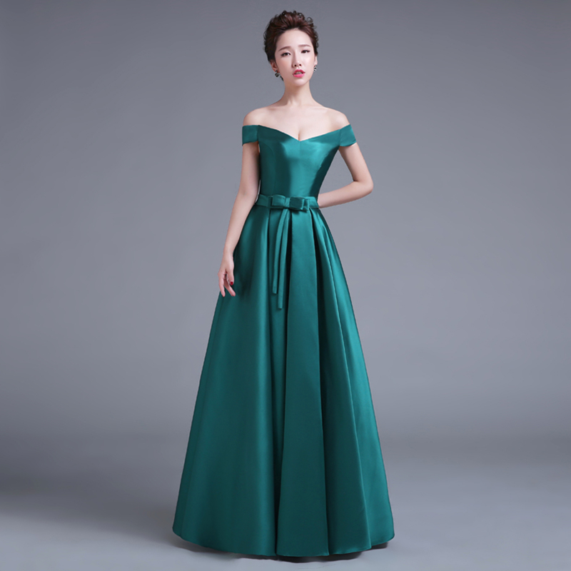 Real Photo Robe De Soiree Short Sleeves Green Color Satin Long   Evening     Dresses   New Floor Length Super Cheap Prom   Dresses