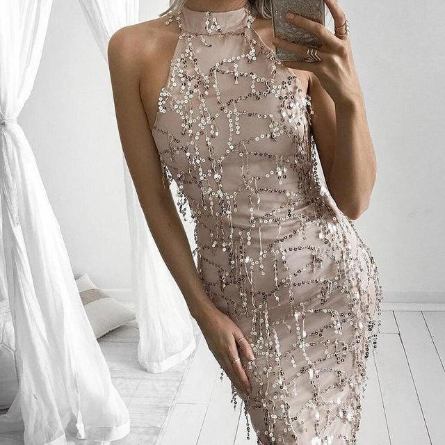 Apparel Elegant Summer Dress Sequin Tassel Maxi Mermaid Dress Women Evening  Party Dresses Sexy Mesh Long Dress vestidos tunic ba8154b903b9
