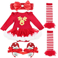 4PCS Sets Santa Clause Romper Tutu Skirt Dress Jumpsuit Christmas Birthday Costume Vestidos For Newborn Baby
