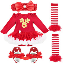 4PCS Sets Santa Clause Romper Birthday Costume