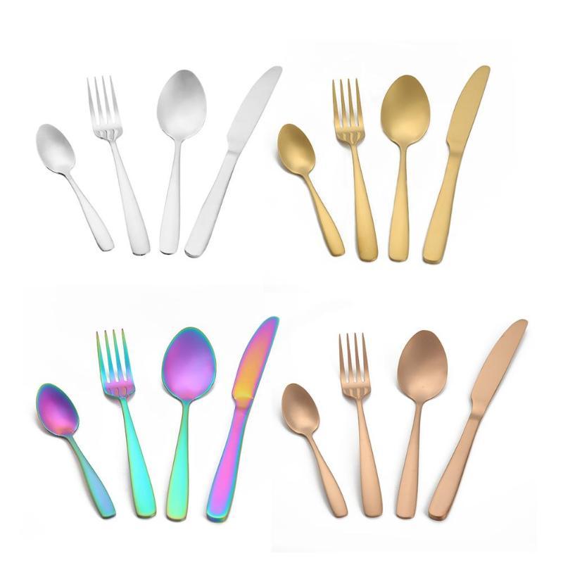 Dinnerware Set Travel Camping Cutlery Set Reusable 4Pcs Portable Stainless Steel Spoon Fork Knife Tableware Set