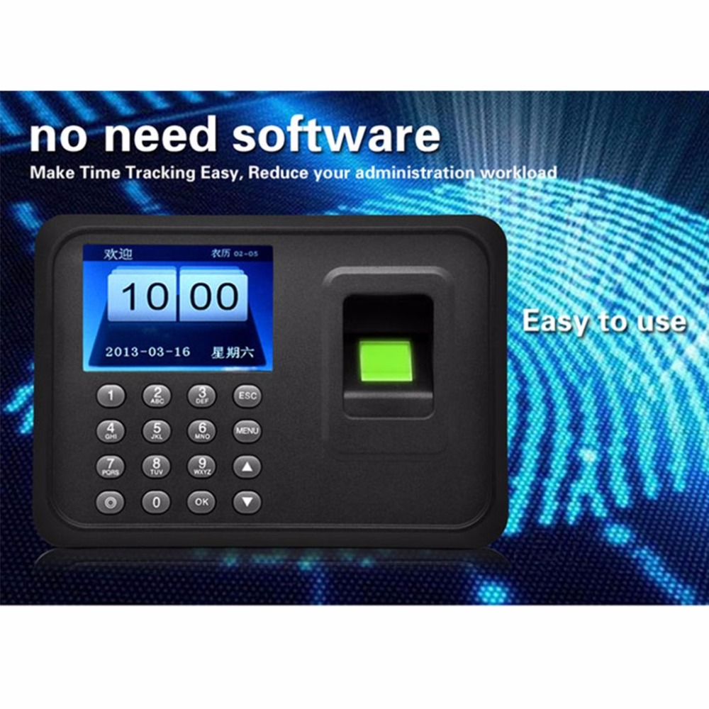A6 2.4-Inch TFT Color Screen Fingerprint Recorder Free-software Roll Machine Employee Attendance Machine Time Clock Recorder biometric a6 2 4 inch tft usb 32bit cpu fingerprint time attendance machine clock record noneed software