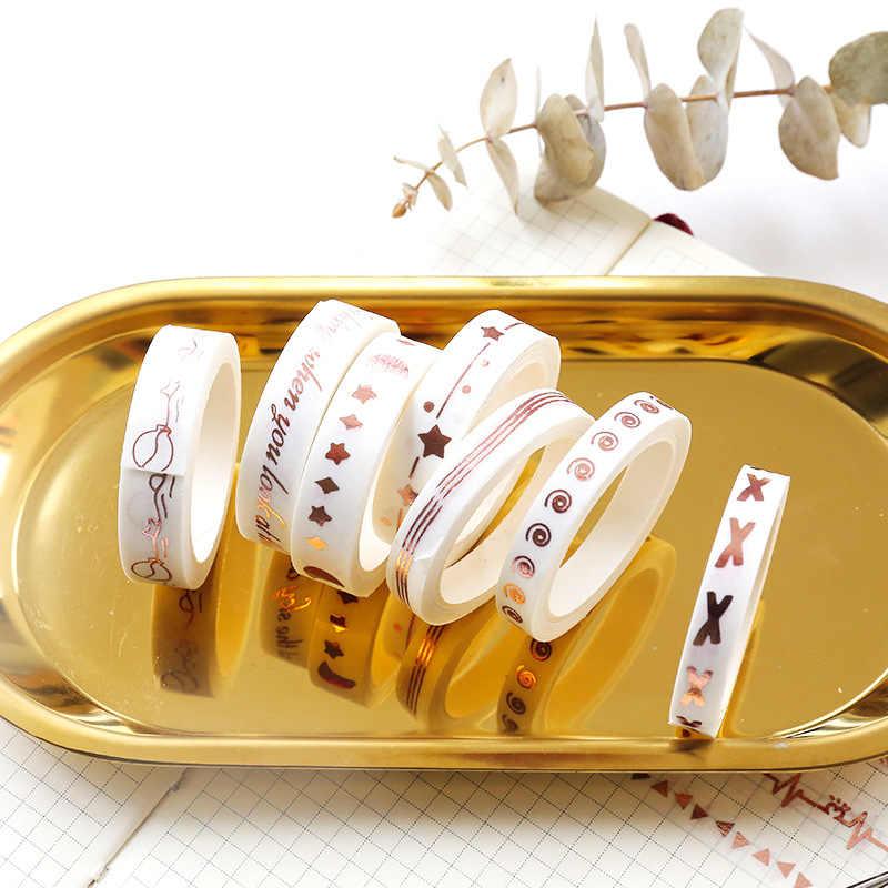 Kawaii Rosa oro Washi Tape Cute Grid Masking Tape Scrapbooking Diary DIY decorativo Oficina cinta adhesiva japonés papelería