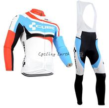3D Silicone! CUBE 2014 long sleeve autumn bib cycling wear clothes bicycle bike cycling jersey bib pants set gel pad kit