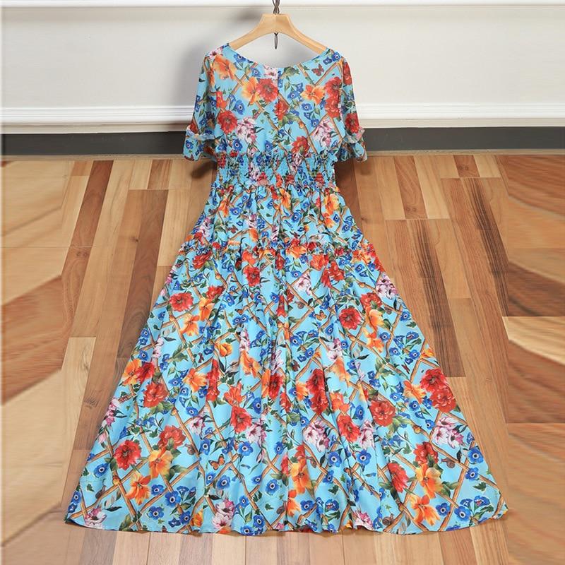 Bohemian Women Long Dress 2018 Spring Summer Ladies Square Collar Half Sleeve Casual Maxi Dress Rockabilly Audrey Dress Blue