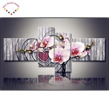 2017 4 шт. комплект Магнолия Орхидея 5D украшения дома алмаз живопись цветок мульти полный алмазного бурения 3D Алмазная вышивка Орхидея
