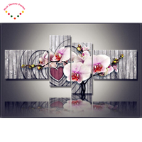 2017 4 Pcs Set Magnolia Orchid 5d Home Decoration Diamond Painting Flower Multi Full Diamond Drill