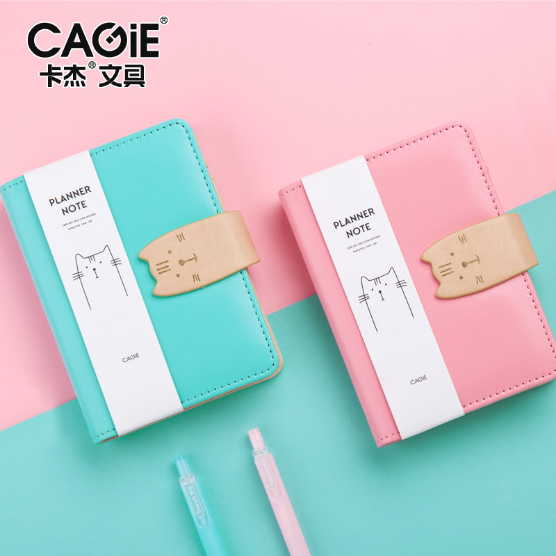 где купить  4pcs PU Leather Cover Planner Notebook Cat Travel Journal A7 Spiral Diary Book Exercise Composition Binding Note Notepad Gift  по лучшей цене
