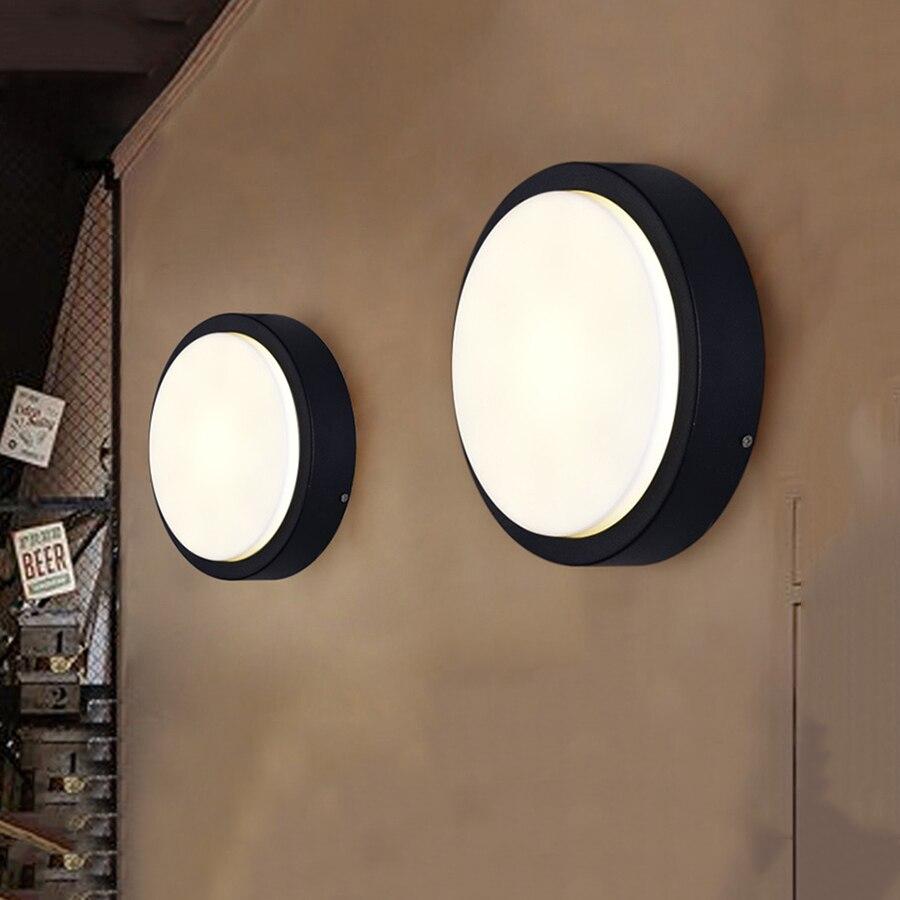 Thrisdar 6W 12W 18W Round Outdoor Garden LED Porch Wall Light Aluminum Garden Aisle Fence Balcony Villa Exterior Wall LampsThrisdar 6W 12W 18W Round Outdoor Garden LED Porch Wall Light Aluminum Garden Aisle Fence Balcony Villa Exterior Wall Lamps